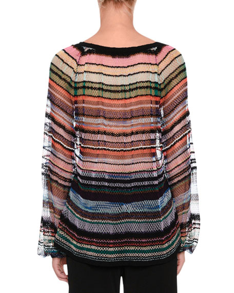 Deep V-Neck Open-Weave Striped Sweater