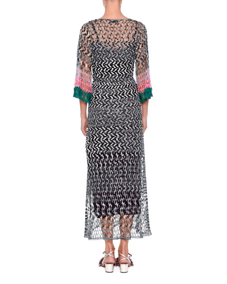 Reversible Plunging Long-Sleeve Space-Dye Ankle-Length Gown