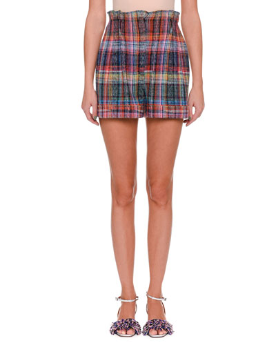 Rainbow-Check Shorts