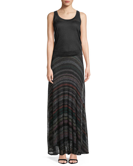 Netted Multicolor-Striped Maxi Skirt