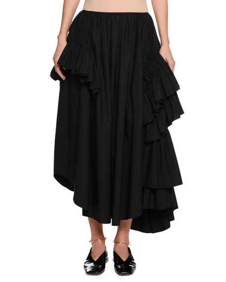 Back-Zip Long Full Cotton Poplin Skirt with Ruffles