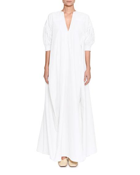 V-Neck Puff Elbow-Sleeve Cotton Poplin Dress