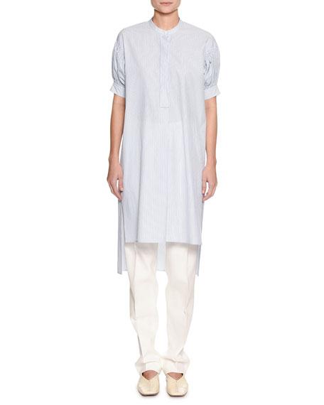 Jil Sander Puff-Sleeve Striped Tunic Shirt