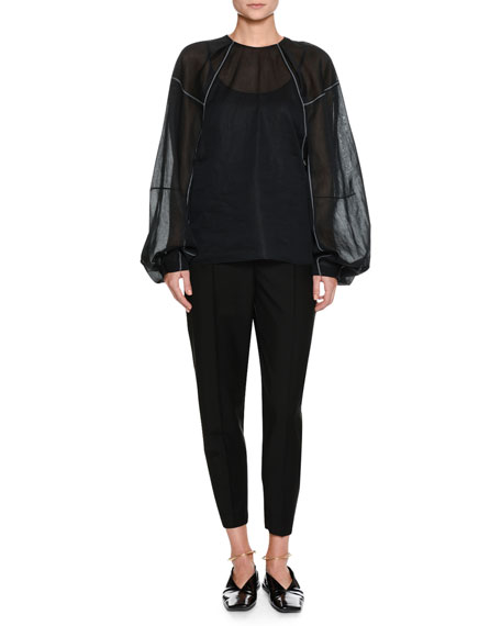 Jil Sander Full-Sleeve Round-Neck Blouse with Contrast
