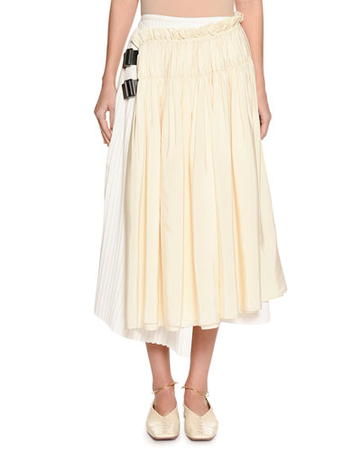 Gathered & Pleated Two-Tone Wrap Skirt with Leather Tabs