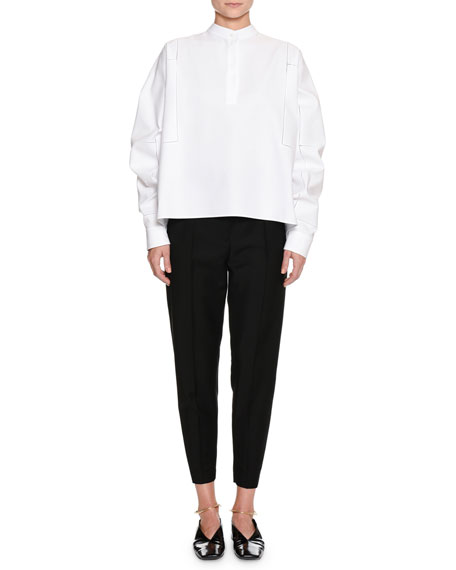 Band-Neck Long-Sleeve Cotton-Pique Shirt