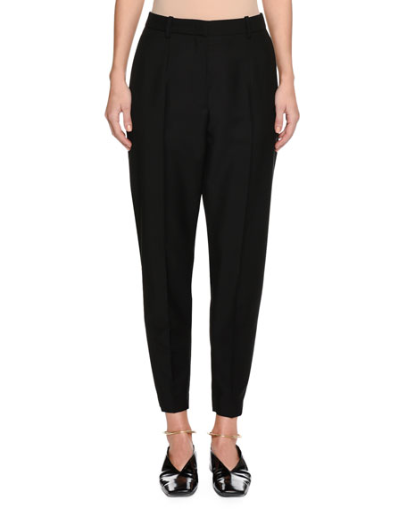 Slim-Fit Tapered-Leg Cropped Wool-Blend Pants