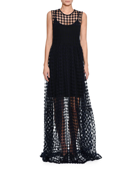 Round-Neck Sleeveless Trapeze Long Dress with Crochet Trim