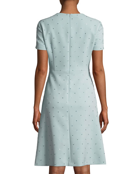 Short-Sleeve Allover Stone-Embroidered A-Line Dress