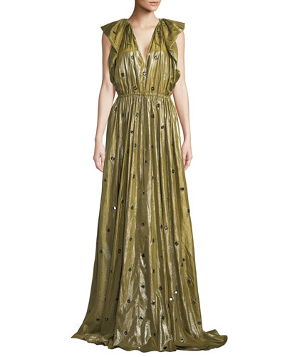 V-Neck Flutter-Shoulder Metal Eyelets Silk Evening Gown