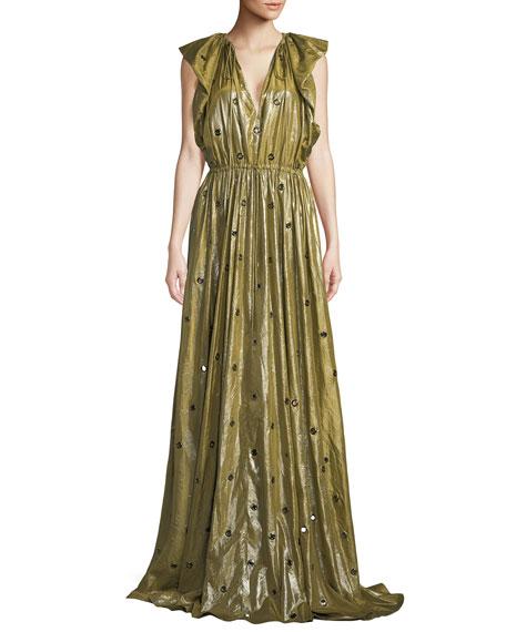 V-Neck Flutter-Shoulder Metal Eyelets Silk Evening Gown