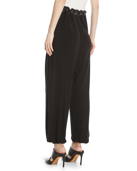 Crepe Jersey Harem Pants w/ Leather Trim