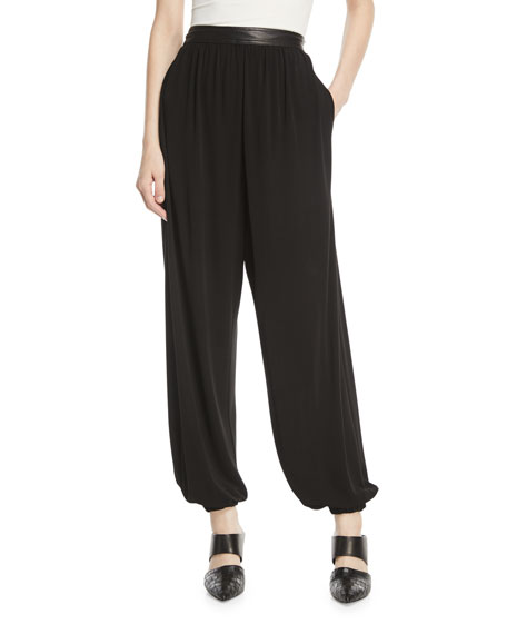 Rosetta Getty Crepe Jersey Harem Pants w/ Leather
