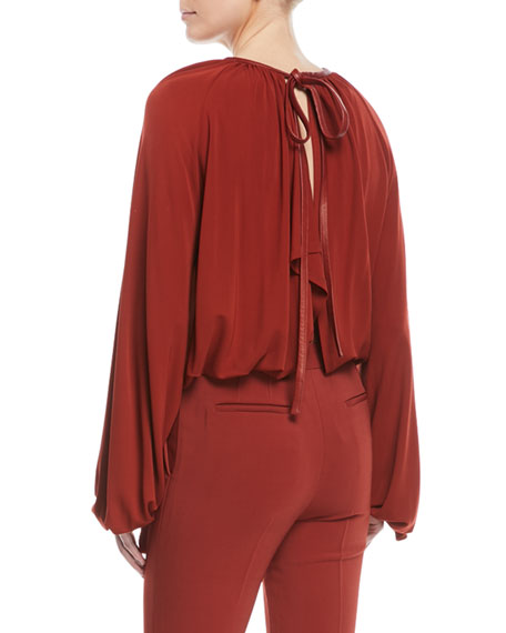 Tie-Neck Split-Back Crepe Jersey Blouse w/ Leather Trim