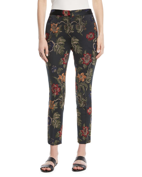 Floral-Jacquard Stretch Satin Skinny Trousers
