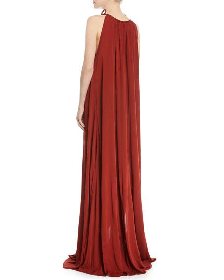 Halter Tie-Neck Crepe Jersey Maxi Dress w/ Leather Trim