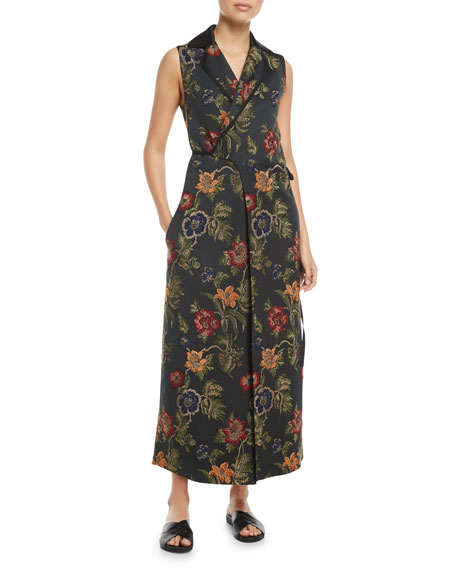 Sleeveless Floral Satin Jacquard Wrap Vest