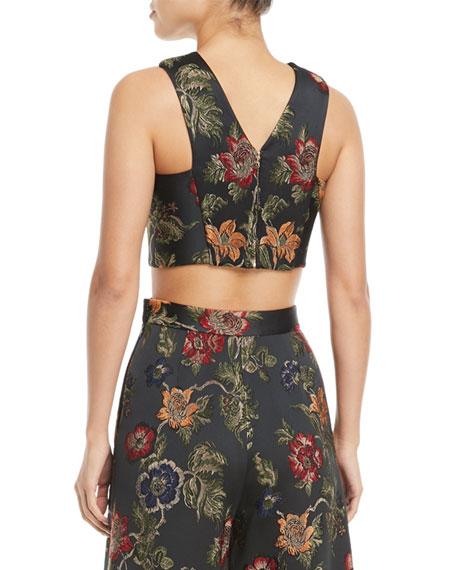Floral-Jacquard Satin Cross-Front Bra Top
