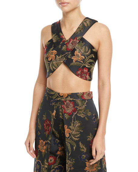 Rosetta Getty Floral-Jacquard Satin Cross-Front Bra Top and