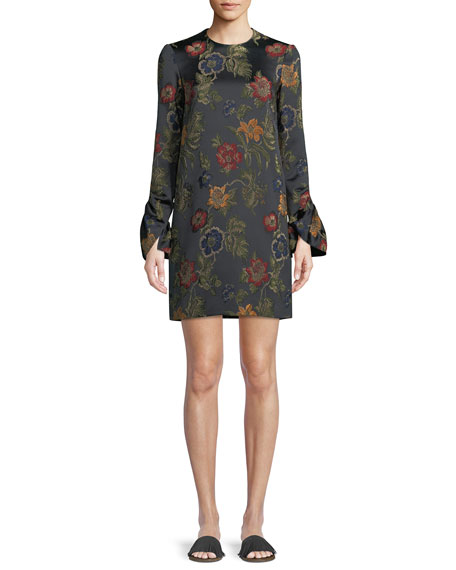 Long-Sleeve Floral-Jacquard Stretch Satin Shift Dress