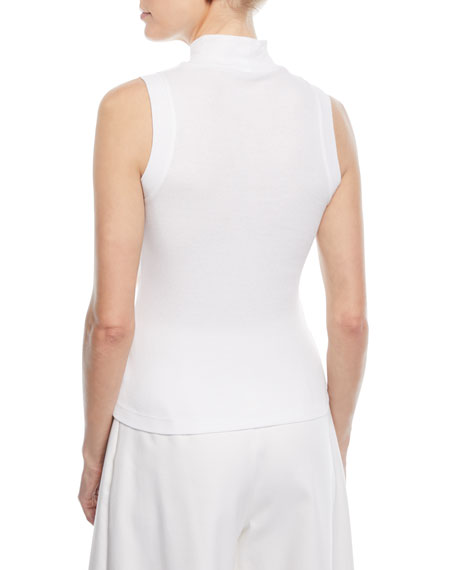 Turtleneck Sleeveless Mini-Rib Jersey Cotton Top