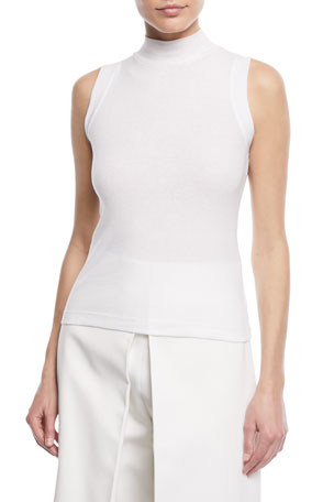 Rosetta Getty Turtleneck Sleeveless Mini-Rib Jersey Cotton Top