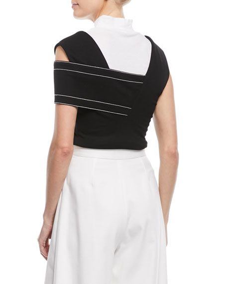 One-Shoulder Interlock Jersey Banded Top w/ Contrast Topstitching