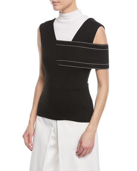 Rosetta Getty One-Shoulder Interlock Jersey Banded Top w/