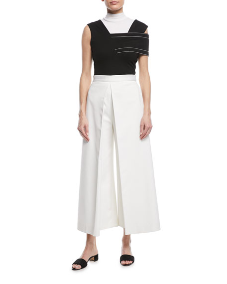 Pleat-Front Stretch-Ottoman Culottes