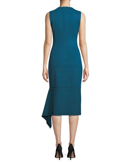 Sleeveless Body-Con Interlock Jersey Dress w/ Drape Panel