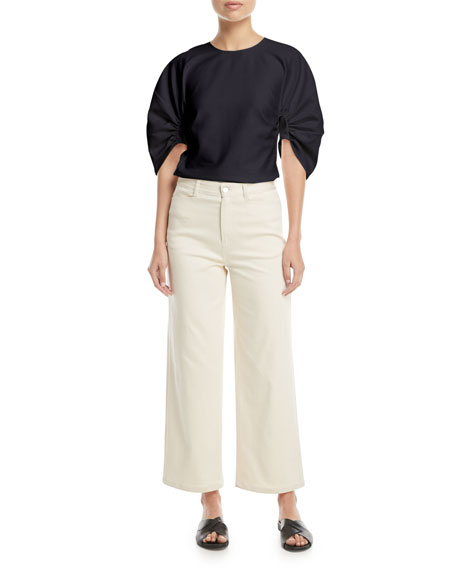 Mid-Rise Wide-Leg Cropped Jeans