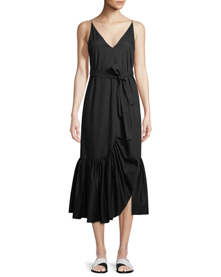 V-Neck Sleeveless Ruffle Camisole Cotton Poplin Dress