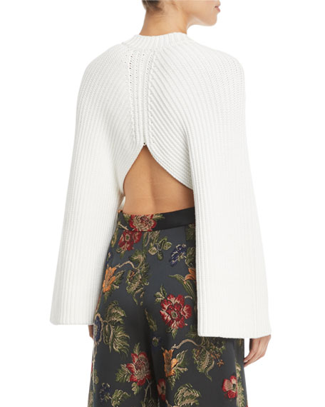 Crewneck Long-Sleeve Chunky Cropped-Back Pullover Sweater
