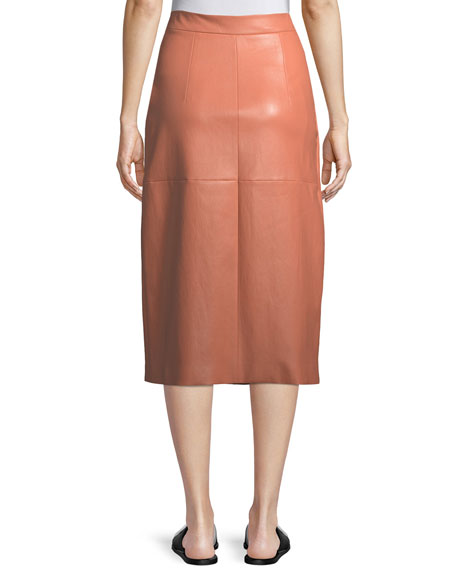 A-Line Lambskin Leather Invert Apron Wrap Skirt