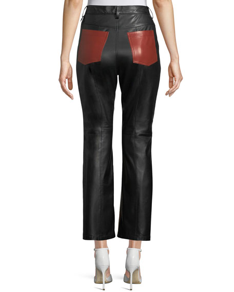 Straight-Leg Colorblocked Lamb Leather Pants