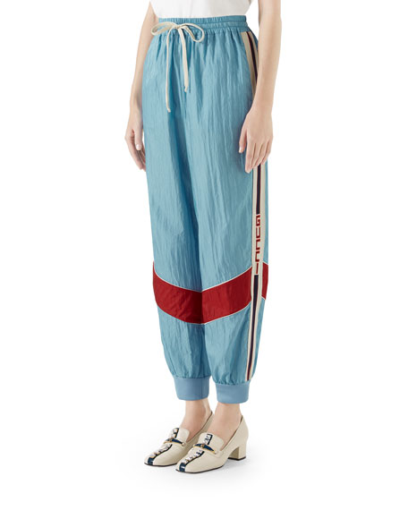 Technical Nylon Relaxed Jogger Pants With Piping & Sport Trim in Sky Blue
