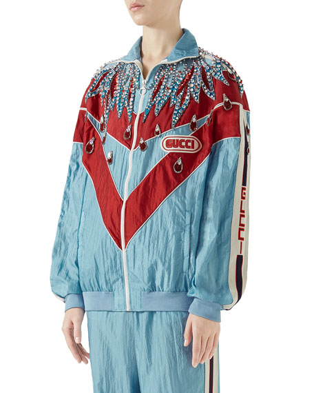Gucci Technical Nylon Zip-Front Jacket with Crystal