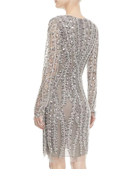 Deep-V Long-Sleeve Beaded-Vines Cocktail Dress