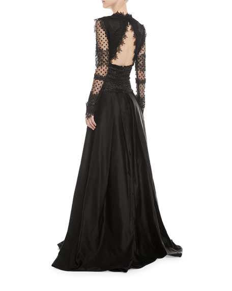 Long-Sleeve V-Neck Lace Evening Gown w/ Open Back