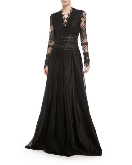 Naeem Khan Long-Sleeve V-Neck Lace Evening Gown w/