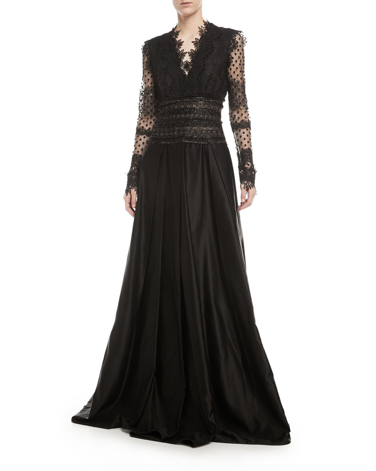 Naeem Khan Long-Sleeve V-Neck Lace Evening Gown w/ Open Back ...