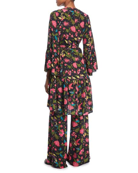 Caroline Kimono Floral-Print Robe-Style Dress
