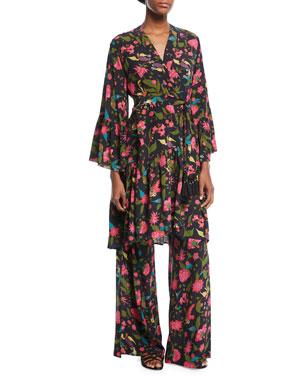 34d072c9346e Figue Caroline Kimono Floral-Print Robe-Style Dress