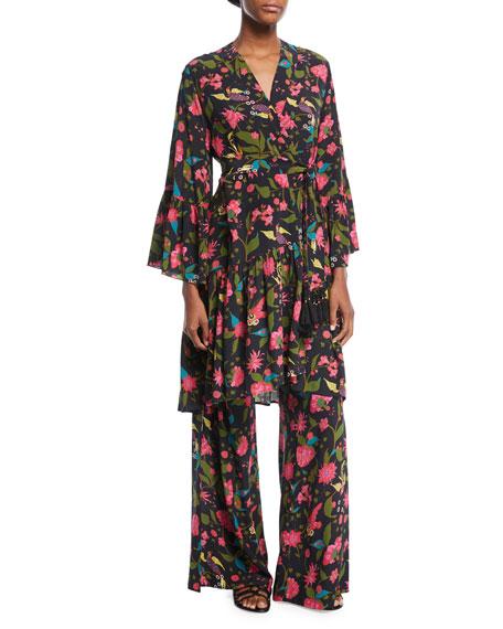 Figue Caroline Kimono Floral-Print Robe-Style Dress
