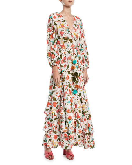 Frederica Paradise Batik-Print Long Wrap Dress