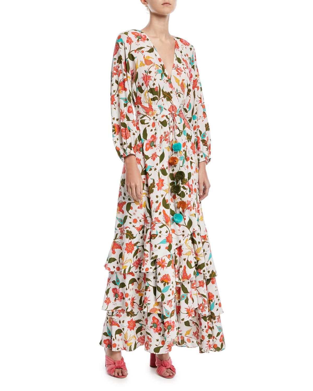 Figue Frederica Paradise Batik-Print Long Wrap Dress