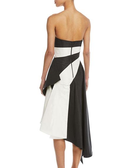 Striped Strapless Asymmetrical Silk Taffeta Cocktail Dress