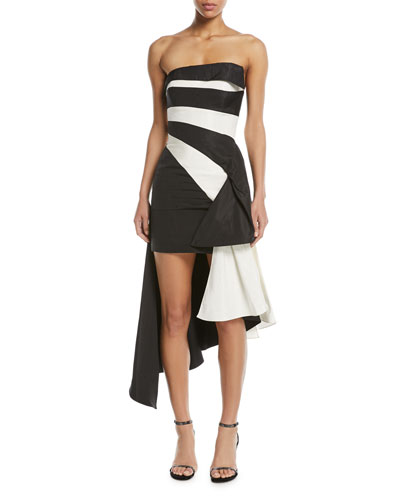 Striped Strapless Asymmetrical Silk Taffeta Cocktail Dress