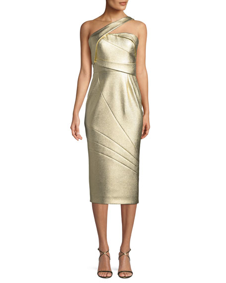 One-Shoulder Textured Matelasse Cocktail Dress