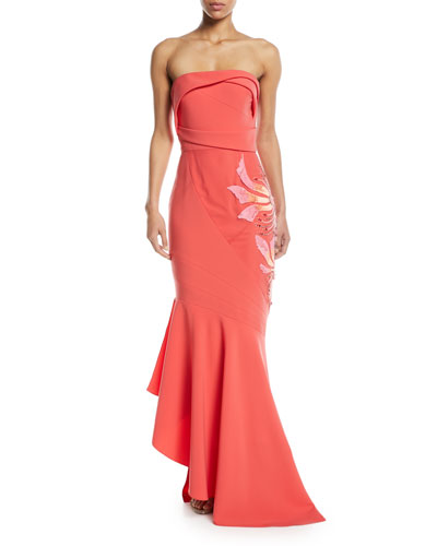 Hand Draped Jersey Evening Gown w/ Side Embroidery